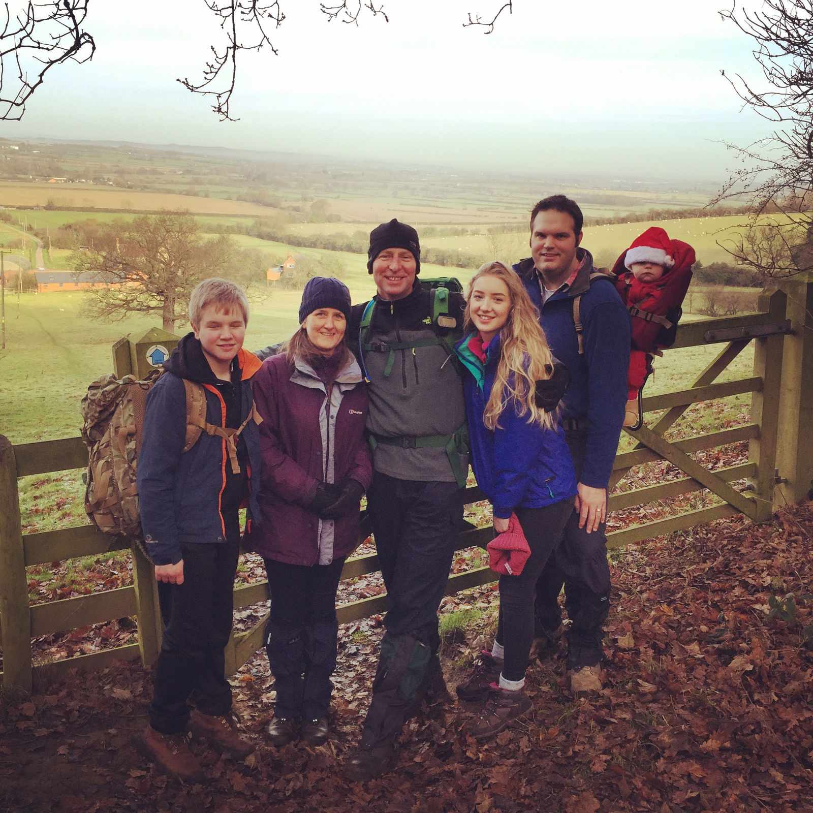 Dumbleton Hill with Allie, Heather, James, Rob and wee Archie too!