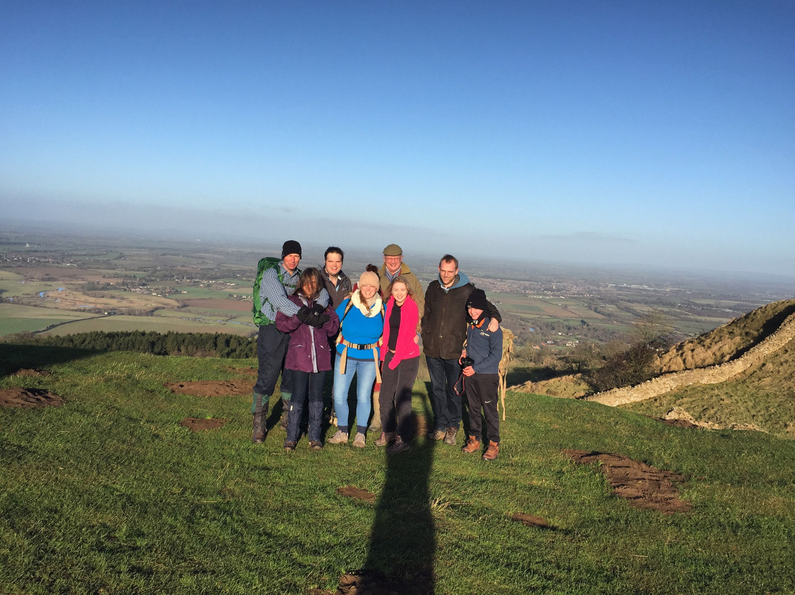 Christmas walk with Allie, Rob, Isla, Gam, Heather, Harry and James on Bredon Hill