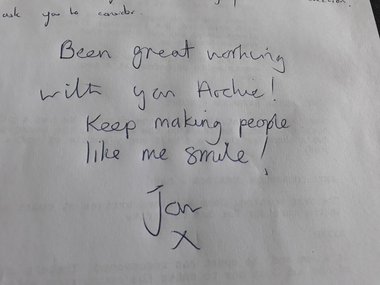 Jans Wonderful Message Made Me Smile