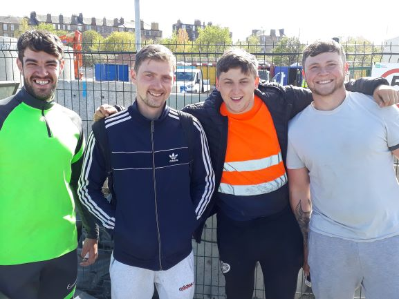 Smiles Nos 249-252. Rhys, Darren, Ryan and Stevie from JCC construction at the end of a long shift in Edinburgh.